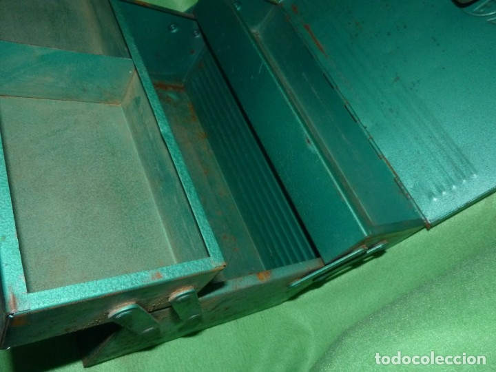 Antigüedades: CURIOSA ANTIGUA CAJA HERRAMIENTAS METAL RARO TAMAÑO USO DECORACION INDUSTRIAL - Foto 6 - 173529785