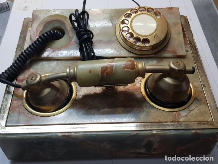 TELÉFONO ANTIGUO TIPO GONDOLA MARMOL VERDE AÑOS 70 (Antigüedades - Técnicas - Teléfonos Antiguos)