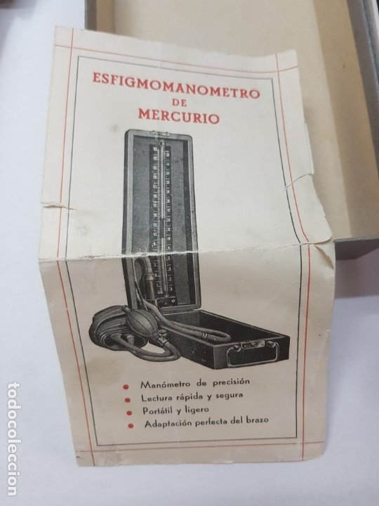 Antigüedades: Esfigmanometro o Tensiómetro antiguo de Mercurio Femi muy difícil en caja original y manual - Foto 4 - 173632928