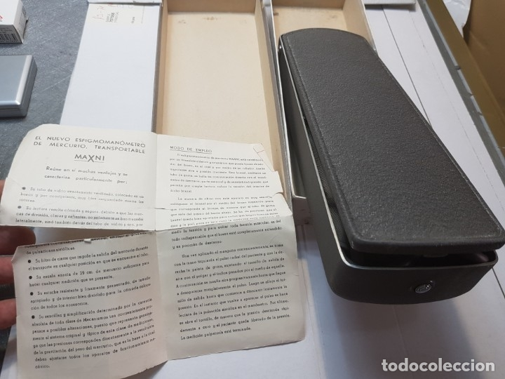 Antigüedades: Esfigmanometro o Tensiómetro antiguo de Mercurio Femi muy difícil en caja original y manual - Foto 5 - 173632928