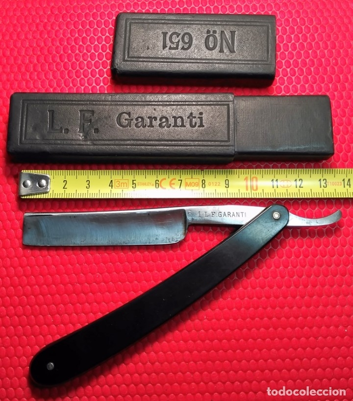 Antigüedades: NAVAJA AFEITAR L.F. GARANTI nº 651, caja ORIGINAL, barbero, STRAIGHT RAZOR, RASOIO - Foto 4 - 173962810
