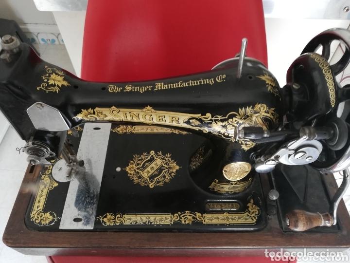 Antigüedades: Maquina de coser finales del 1800..restaurada por singer. Pan de oro.Número serial.. Uníca.. - Foto 14 - 173972865