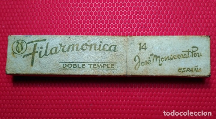 CAJA VACIA O ESTUCHE ORIGINAL NAVAJA AFEITAR FILARMONICA DOBLE TEMPLE 14. STRAIGHT RAZOR, BOX, (Antigüedades - Técnicas - Barbería - Navajas Antiguas)