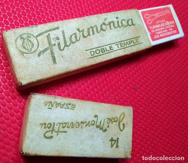 Antigüedades: Caja vacia o estuche original navaja afeitar FILARMONICA DOBLE TEMPLE 14. Straight razor, Box, - Foto 3 - 173985189