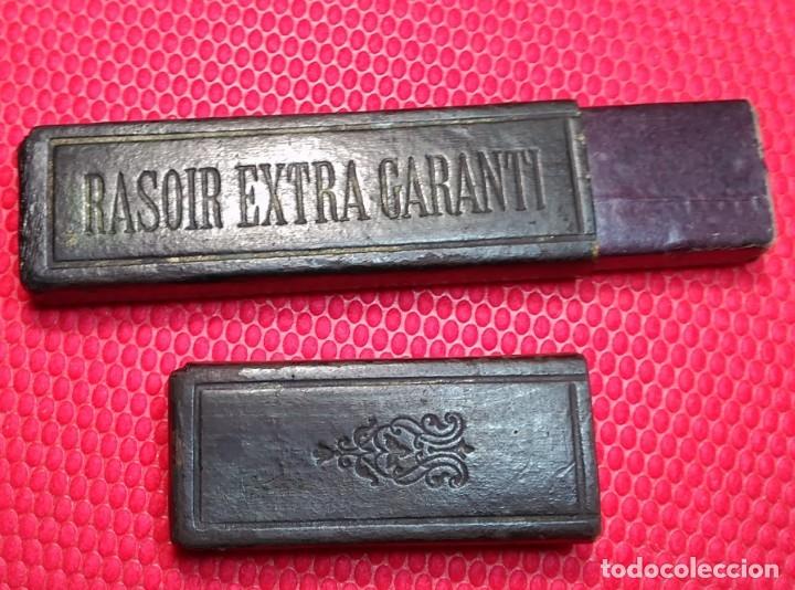 Antigüedades: Caja vacia o estuche original navaja afeitar RASOIR EXTRA GARANTI. Straight razor, Box, rasoio - Foto 2 - 173985663