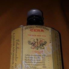 Antigüedades: BOTELLA FARMACIA TÓNICO NERVIOSO DR,ANTONIO CERA BARCELONA 1920. Lote 174078002