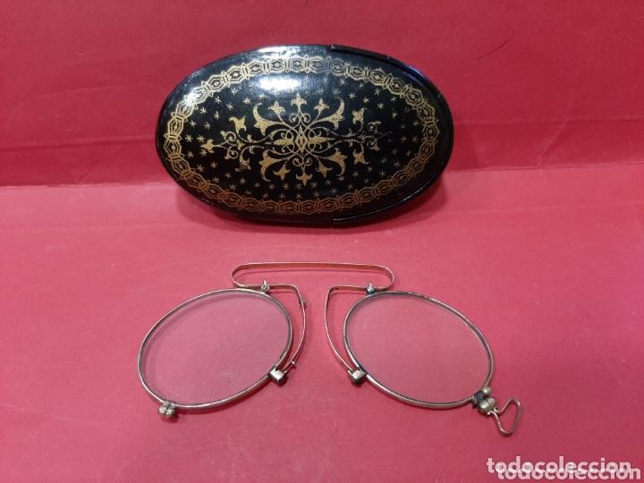 ANTIGUOS BINOCULOS PLEGABLES CHAPADOS DE ORO CON SU FUNDA DE MADERA LACADA. (Antigüedades - Técnicas - Instrumentos Ópticos - Gafas Antiguas)