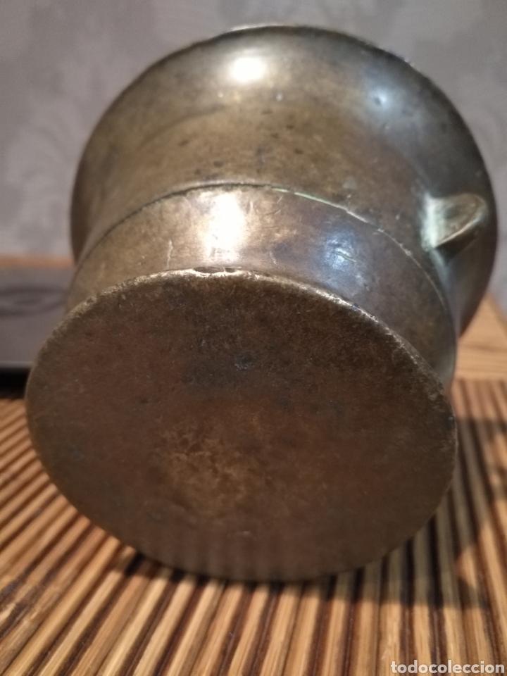 Antigüedades: Almirez mortero español siglo XVII , Mortero farmacia con asa - Foto 3 - 174479034