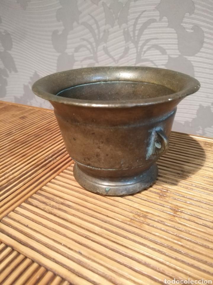 Antigüedades: Almirez mortero español siglo XVII , Mortero farmacia con asa - Foto 6 - 174479034