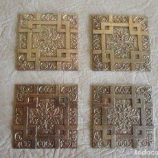 Antiquités: LOTE DE 4 EMBELLECEDORES DE BRONCE ANTIGUOS 7 CM X 7 CM EMBELLECEDOR JOSE MONTESINOS VALENCIA. Lote 106045667