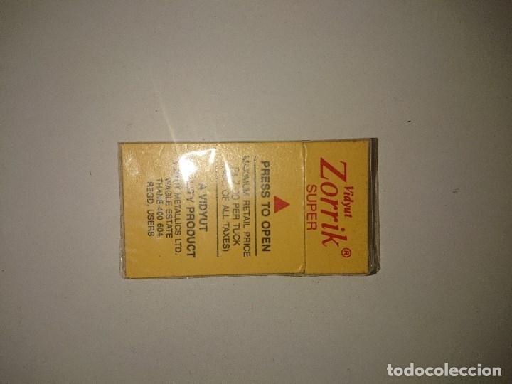 Antigüedades: Antigua Caja de Cuchillas de Afeitar VIDYUT ZORRIK SUPER ,LEER Descripcion - Foto 2 - 174533475