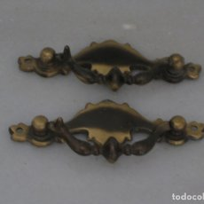 Antigüedades: 2 ASAS. TIRADOR PARA CAJÓN METAL DORADO.. Lote 174810367