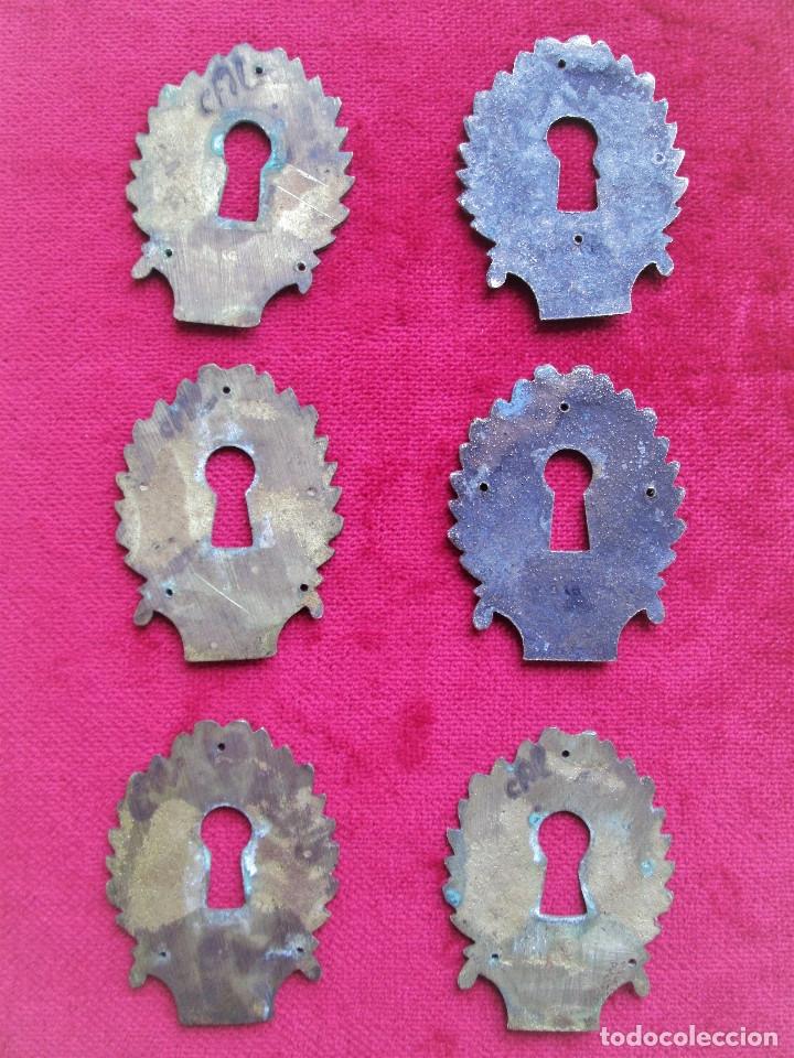 Antigüedades: EMBELLECEDORES DE BRONCE PARA RESTAURAR MUEBLE ANTIGUO - 6 OJO DE CERRADURA CON BONITOS GRABADOS ART - Foto 3 - 174962127