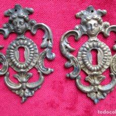 Antigüedades: EMBELLECEDORES DE BRONCE PARA RESTAURAR MUEBLE ANTIGUO - 2 OJO DE CERRADURA. Lote 174962862