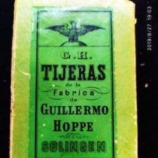 Antigüedades: CAJA G H TIJERAS GUILLERMO HOPPE SOLINGEN BUEN ESTADO. Lote 174995552