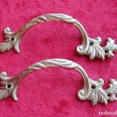 Antigüedades: 2 TIRADORES DE BRONCE O LATÓN MADE IN ENGLAND , NUMERADOS PERFECTOS. Lote 175000959