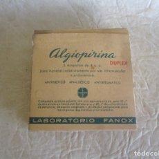 Antigüedades: ANTIGUA CAJA MEDICAMENTO ALGIOPIRINA LABORATORIOS FANOX BARCELONA. Lote 175283038