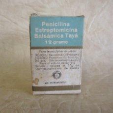 Antigüedades: ANTIGUA CAJA MEDICAMENTO PENICILINA LABORATORIOS DR. TAYA Y BOFILL. Lote 175294223