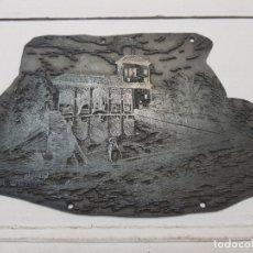 Antigüedades: ESPECTACULAR TAMPON METÁLICO, SELLO DE IMPRENTA MOTIVO TORRE DE LAS DAMAS ALHAMBRA FIRMADO AUTOR. Lote 175332767