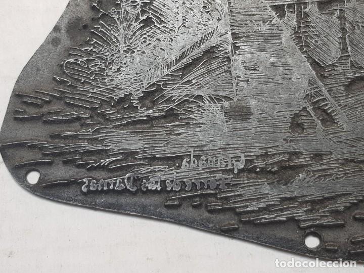 Antigüedades: Espectacular Tampon metálico, Sello de Imprenta motivo Torre de las Damas Alhambra firmado autor - Foto 2 - 175332767