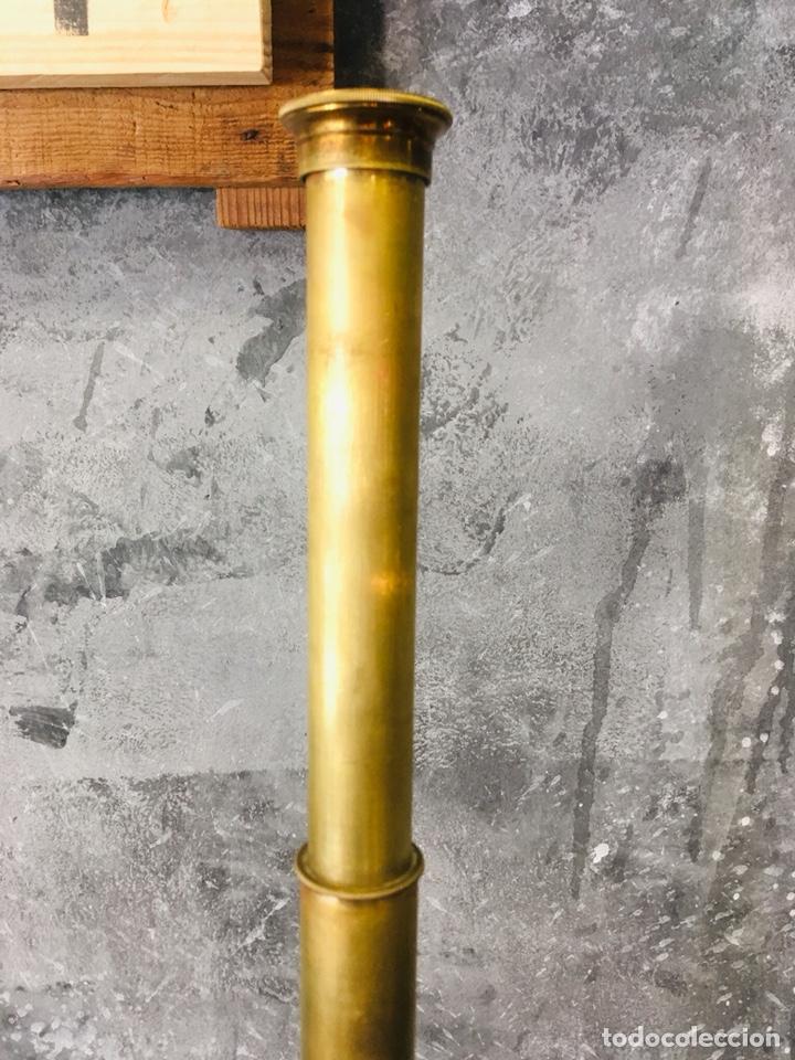 Antigüedades: ANTIGUO CATALEJO MARINO DE LATÓN CON FUNDA DE CUERO PRISMÁTICO NAVAL DE MARINERO TELESCOPIO DE NAVÍO - Foto 8 - 175395525