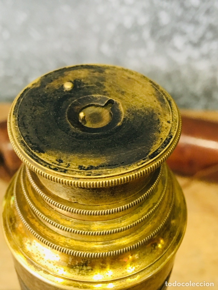 Antigüedades: ANTIGUO CATALEJO MARINO DE LATÓN CON FUNDA DE CUERO PRISMÁTICO NAVAL DE MARINERO TELESCOPIO DE NAVÍO - Foto 10 - 175395525