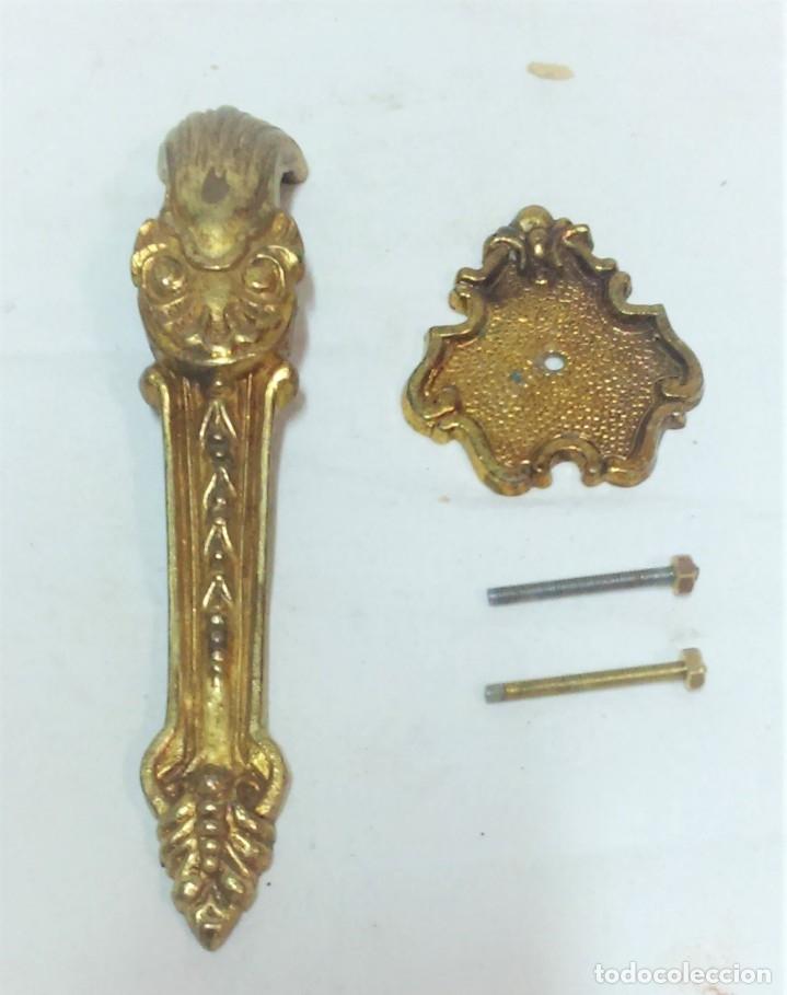 Antigüedades: LOTE 3 ANTIGUOS TIRADORES BRONCE PARA PUERTAS ARMARIO,ETC. VER DESCRIPCIÓN - Foto 4 - 175558177