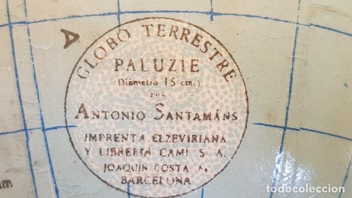 Antigüedades: GLOBO TERRESTRE PALUZIE / POR ANTONIO SANTAMANS / IMPRENTA ELZEVERIANA / 15 CM Ø / BUEN ESTADO. - Foto 5 - 175616152
