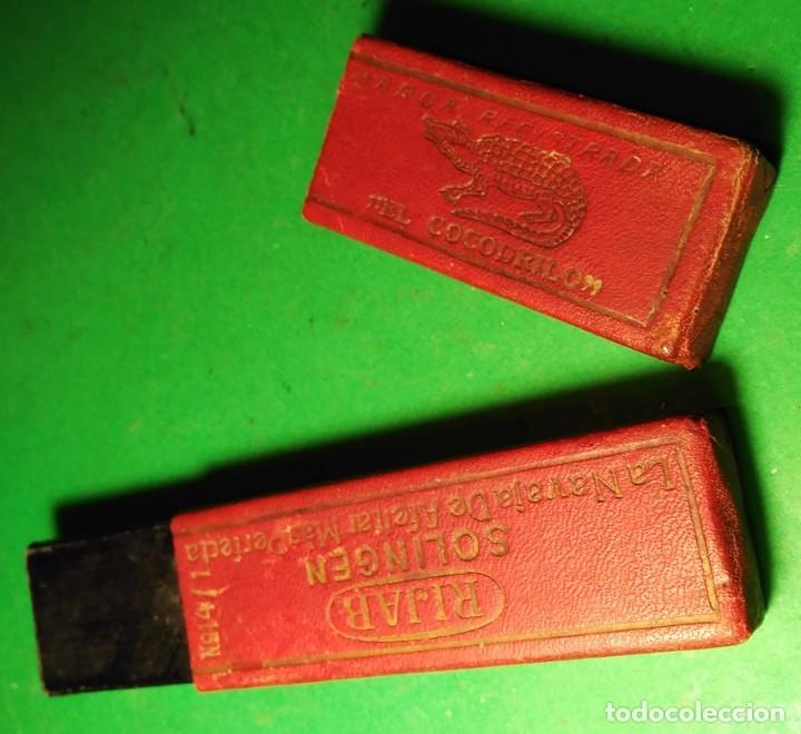 Antigüedades: Caja vacia original para navaja de afeitar COCODRILO. Straight razor, Box, Rasoio - Foto 2 - 175741108