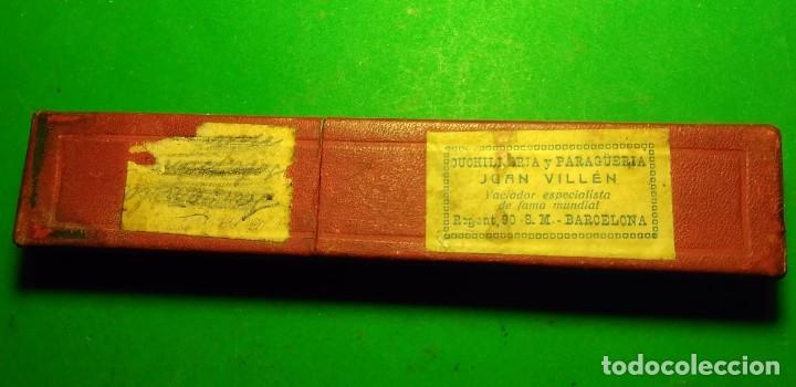Antigüedades: Caja vacia original para navaja de afeitar COCODRILO. Straight razor, Box, Rasoio - Foto 3 - 175741108