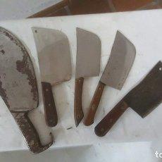 Antigüedades: CONJUNTO DE 5 HACHUELAS DE CARNICERO . Lote 175788354