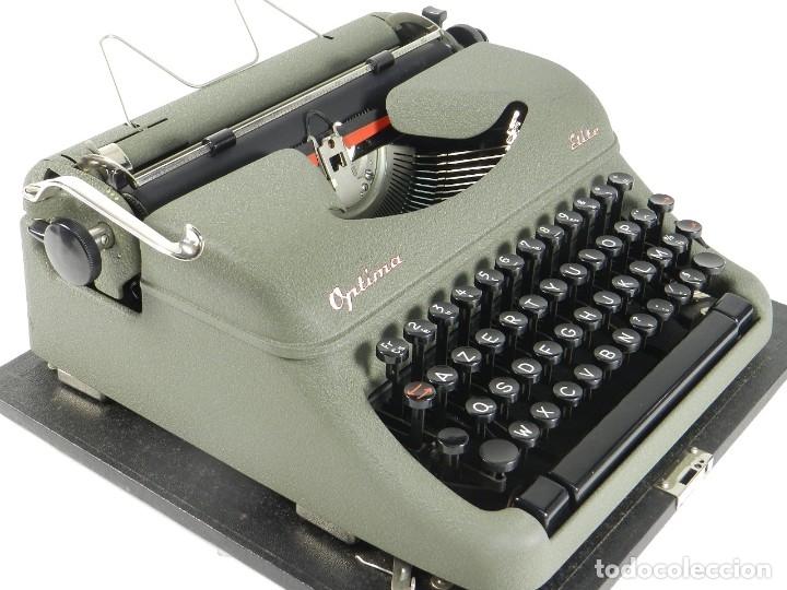 Antigüedades: MAQUINA DE ESCRIBIR OPTIMA ELITE AÑO 1946 TYPEWRITER SCHREIBSMASCHINE - Foto 4 - 175841877