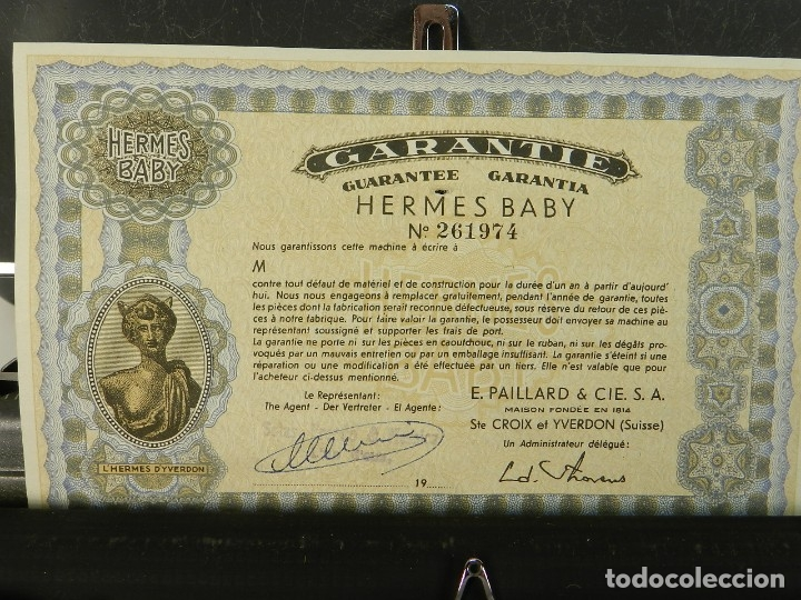 Antigüedades: MAQUINA DE ESCRIBIR HERMES BABY AÑO 1942 TYPEWRITER SCHREIBSMASCHINE - Foto 7 - 175977309