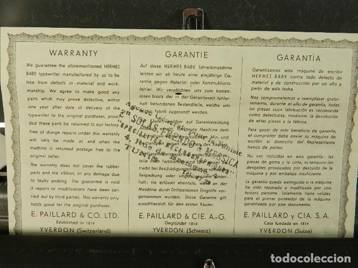 Antigüedades: MAQUINA DE ESCRIBIR HERMES BABY AÑO 1942 TYPEWRITER SCHREIBSMASCHINE - Foto 8 - 175977309