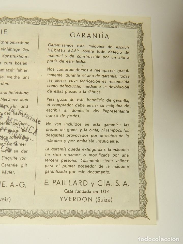 Antigüedades: MAQUINA DE ESCRIBIR HERMES BABY AÑO 1942 TYPEWRITER SCHREIBSMASCHINE - Foto 11 - 175977309