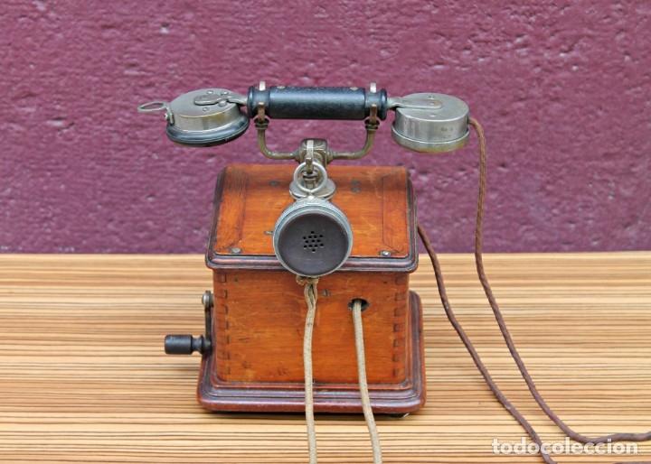 TELEFONO ANTIGUO DE MADERA. (Antigüedades - Técnicas - Teléfonos Antiguos)