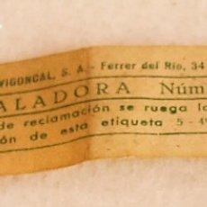 Antigüedades: ETIQUETA DE EMBALADORA - AÑOS 70. Lote 176449670
