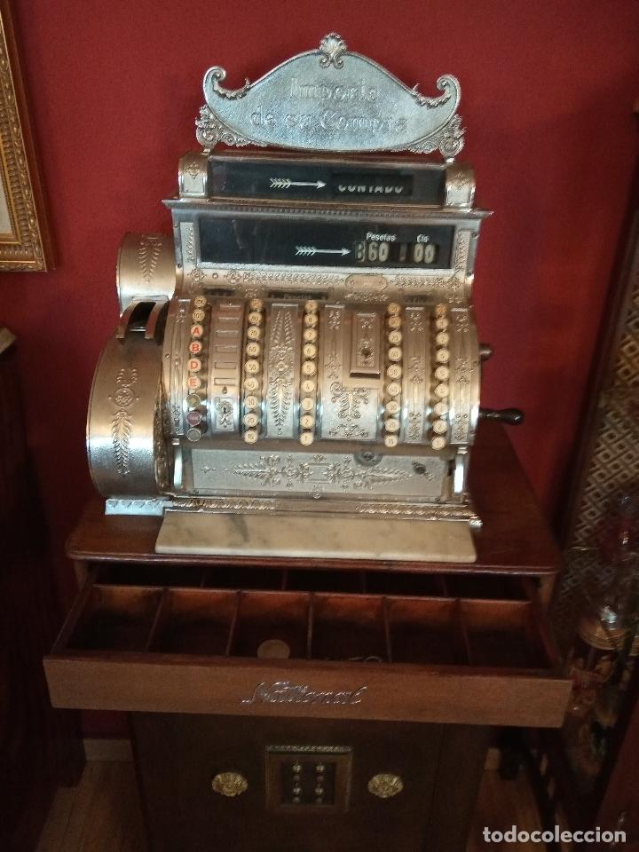 Antigüedades: Maravillosa caja registradora National, estilo modernista. En perfecto estado, de colecccionista. - Foto 2 - 176574257