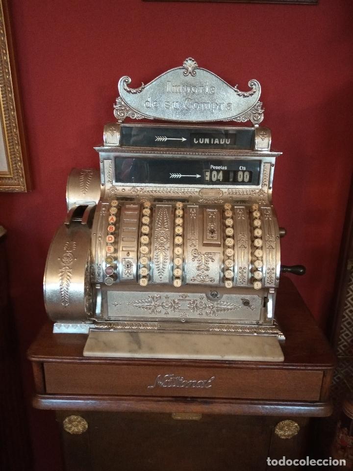 Antigüedades: Maravillosa caja registradora National, estilo modernista. En perfecto estado, de colecccionista. - Foto 3 - 176574257