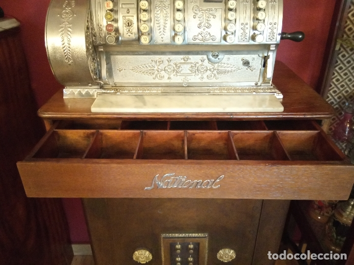 Antigüedades: Maravillosa caja registradora National, estilo modernista. En perfecto estado, de colecccionista. - Foto 8 - 176574257