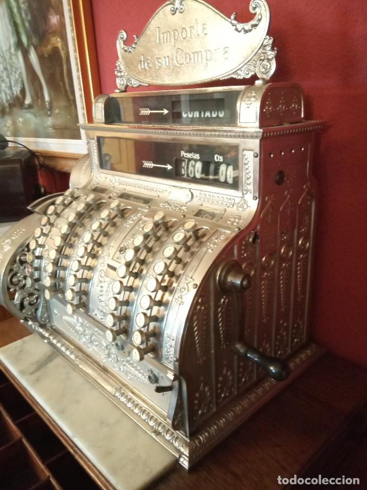 Antigüedades: Maravillosa caja registradora National, estilo modernista. En perfecto estado, de colecccionista. - Foto 9 - 176574257
