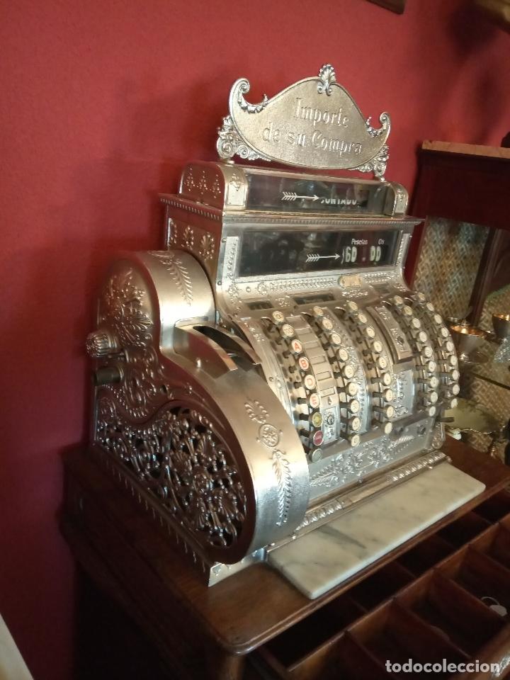 Antigüedades: Maravillosa caja registradora National, estilo modernista. En perfecto estado, de colecccionista. - Foto 10 - 176574257