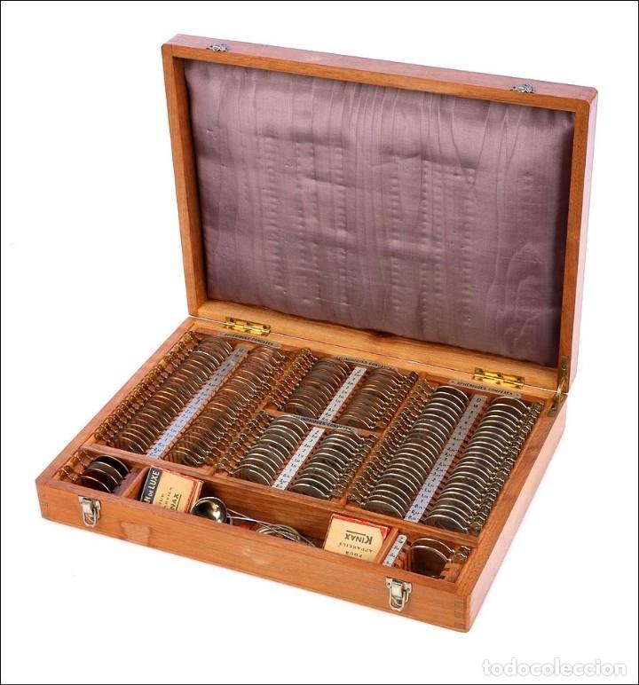 Antigüedades: Antiguo Estuche de Lentes para Óptico. Francia, Años 50 - Foto 3 - 176574292