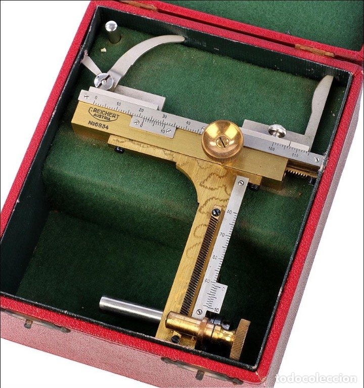 Antigüedades: Antigua Pletina Mecánica Para Microscopio Reichert. Austria, Circa 1920 - Foto 9 - 176574527