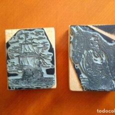 Antigüedades: ANTIGUOS TAMPONES PLANCHAS DE IMPRENTA DE NAVE Y HOMBRE CON CABALLO. Lote 176773595