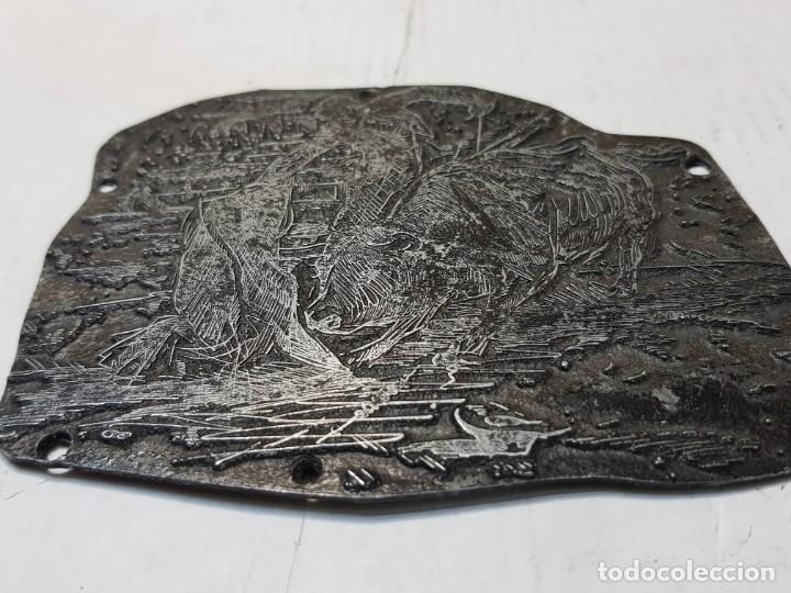 Antigüedades: Tampon metálico-Cliche Imprenta motivo Taurino raro - Foto 3 - 176834594