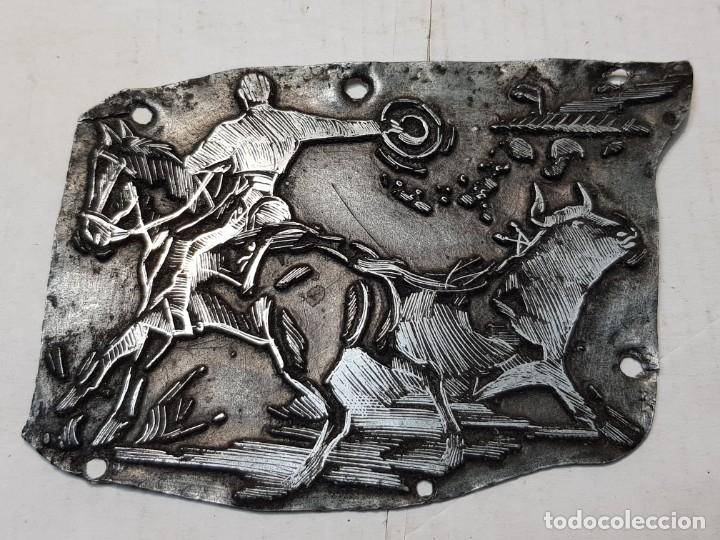 TAMPON METÁLICO-CLICHE IMPRENTA MOTIVO TAURINO RARO (Antigüedades - Técnicas - Herramientas Profesionales - Imprenta)