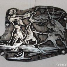 Antigüedades: TAMPON METÁLICO-CLICHE IMPRENTA MOTIVO TAURINO RARO . Lote 176835664