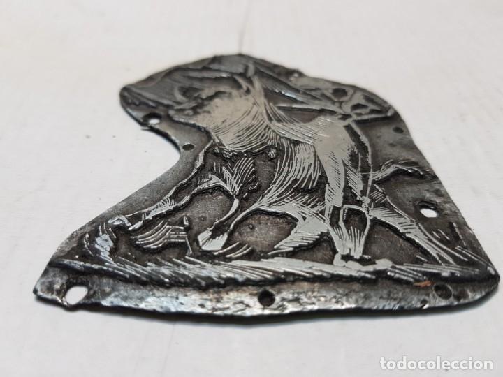 Antigüedades: Tampon metálico-Cliche Imprenta motivo Taurino raro - Foto 3 - 176836028