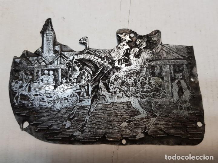TAMPON METÁLICO-CLICHE IMPRENTA MOTIVO SEVILLA-FERIA ABRIL- RARO (Antigüedades - Técnicas - Herramientas Profesionales - Imprenta)